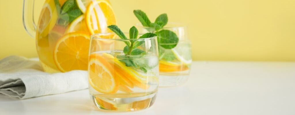 lemon water in a glass cup