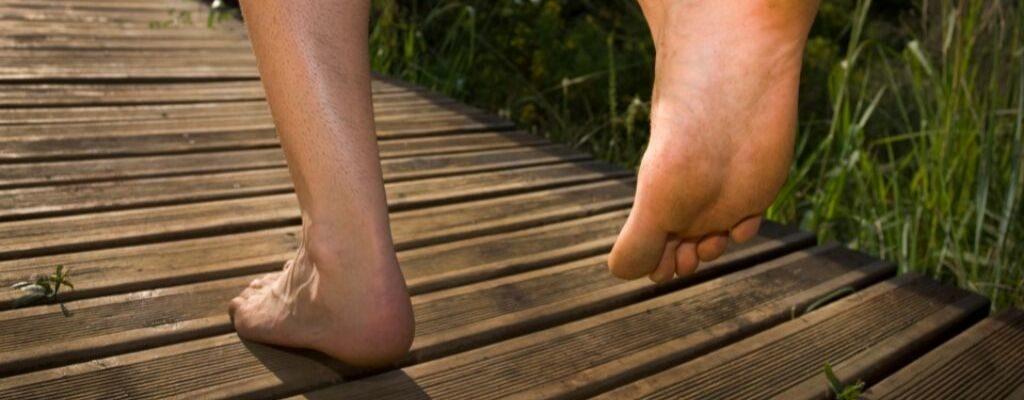 landing toe first, heel last.