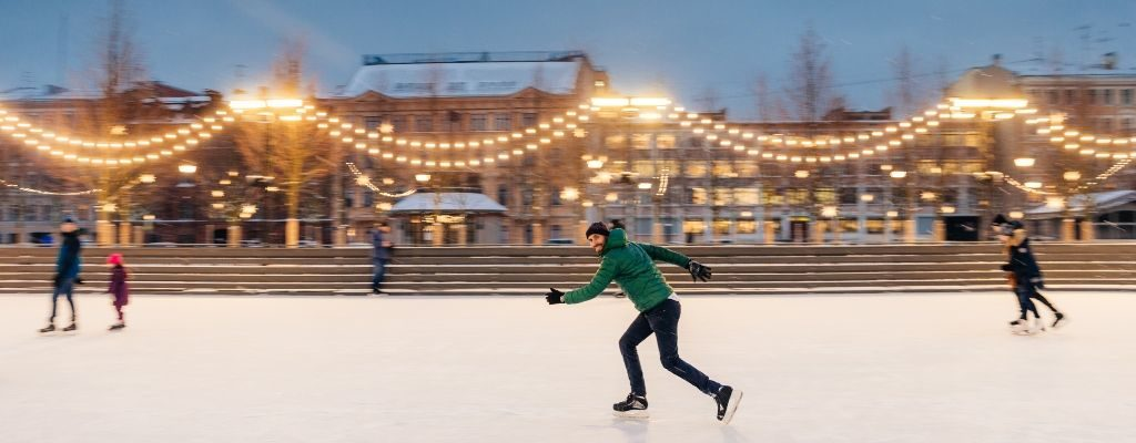 man skating on ice