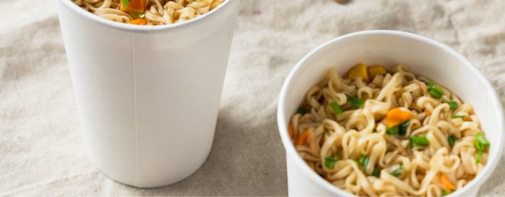 noodles in paper cup