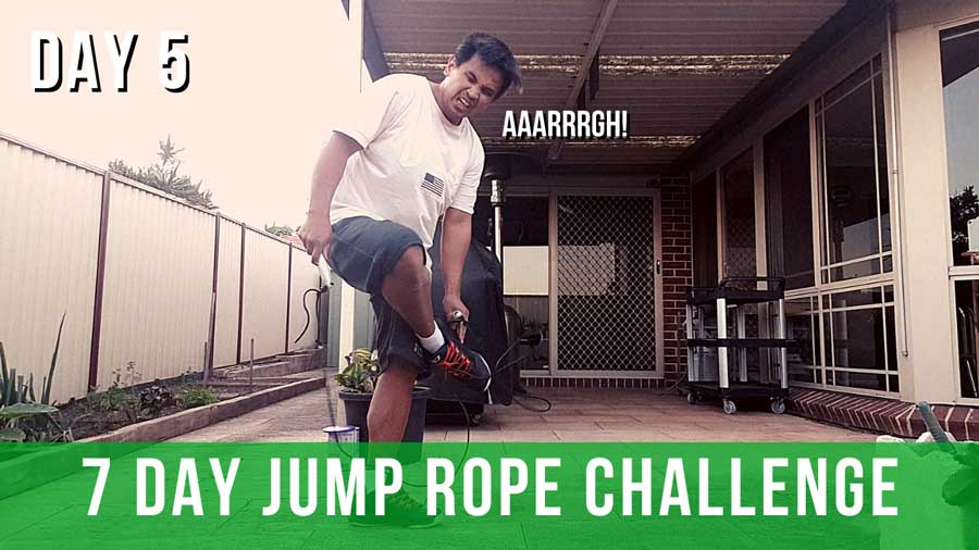 Healthful Papa crying out loud while attempting the 7 day jump rope challenge