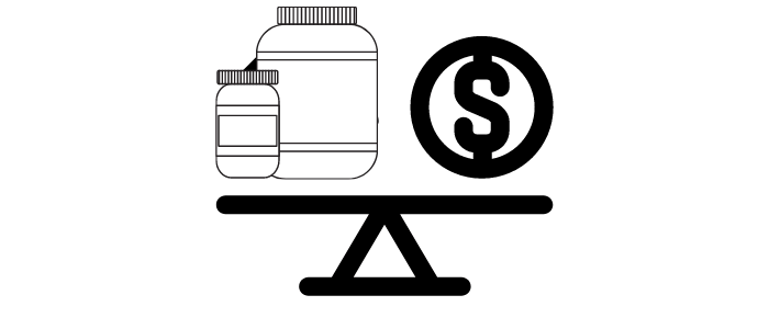 supplement and dollar value on a scale
