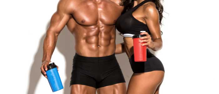 guy and a girl drinking BCAA supplements
