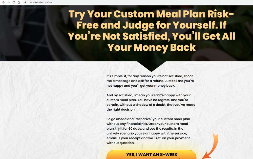 custom keto diet money back guarantee