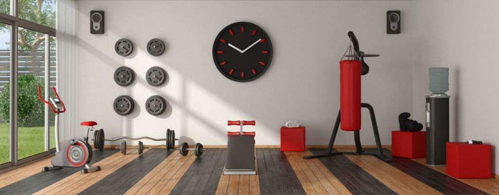 gym clock and exercise machines