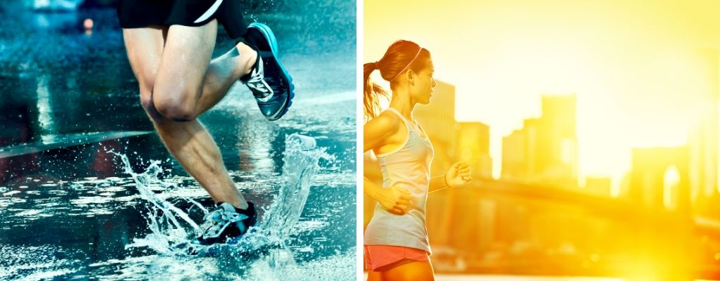 exercising and running in the rain and sunshine