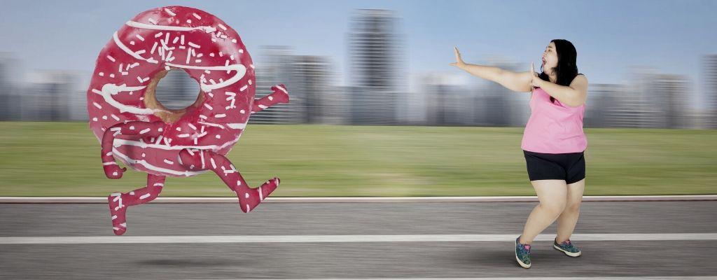 doughnut chasing fat woman